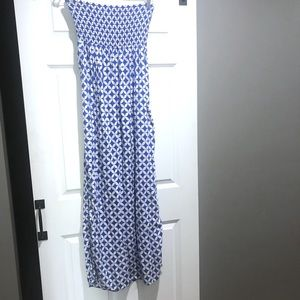 GAP Dresses - Gap blue and white smocked maxi dress large